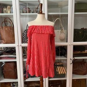 PrettyLittleThing Striped Bardot Dress